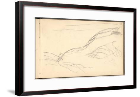 Cliff Below Dieppe (Pencil on Paper)-Claude Monet-Framed Art Print