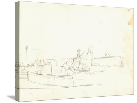 Sailing Boats Leaving a Port (Pencil on Paper)-Claude Monet-Stretched Canvas Print