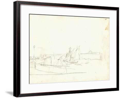 Sailing Boats Leaving a Port (Pencil on Paper)-Claude Monet-Framed Art Print