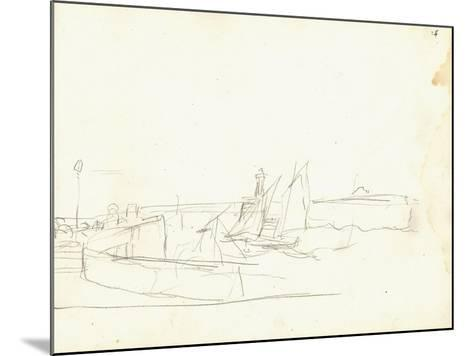 Sailing Boats Leaving a Port (Pencil on Paper)-Claude Monet-Mounted Giclee Print