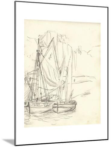 Boats in the Port at Honfleur (Pencil on Paper)-Claude Monet-Mounted Giclee Print