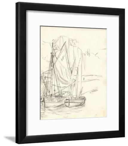 Boats in the Port at Honfleur (Pencil on Paper)-Claude Monet-Framed Art Print