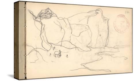 Cliffs Near Pourville-Varengeville (Pencil on Paper)-Claude Monet-Stretched Canvas Print