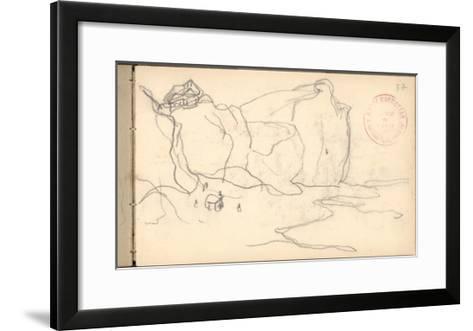Cliffs Near Pourville-Varengeville (Pencil on Paper)-Claude Monet-Framed Art Print