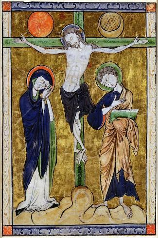 The Crucifixion, from a Psalter, C.1215 (Vellum)-French-Stretched Canvas Print