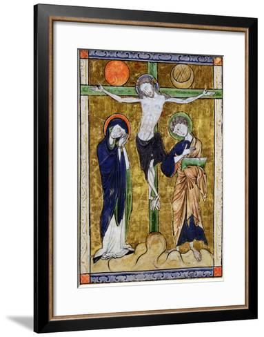 The Crucifixion, from a Psalter, C.1215 (Vellum)-French-Framed Art Print