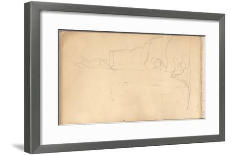 At the Bottom of the Cliffs of Varengeville (Pencil on Paper)-Claude Monet-Framed Art Print