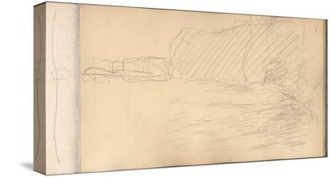The Cliffs of Varengeville (Pencil on Paper)-Claude Monet-Stretched Canvas Print