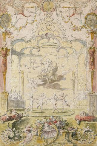 The Triumph of Love (Ink and W/C on Paper)-Claude Gillot-Stretched Canvas Print