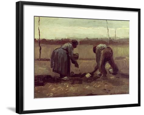 Two Peasants Planting Potatoes, 1885-Vincent van Gogh-Framed Art Print