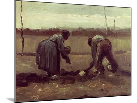 Two Peasants Planting Potatoes, 1885-Vincent van Gogh-Mounted Giclee Print