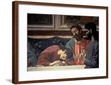 The Last Supper, Detail of Judas, Christ and St. John, 1447 (Fresco) (Detail of 85172)-Andrea Del Castagno-Framed Art Print