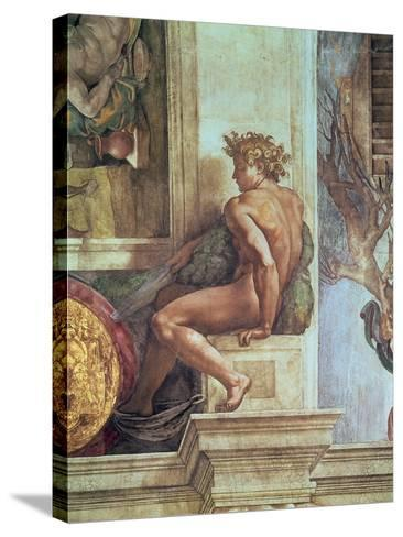 Ignudo from the Sistine Ceiling (Pre Restoration)-Michelangelo Buonarroti-Stretched Canvas Print