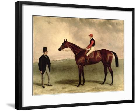 Gladiateur with Harry Grimshaw Up and His Owner, Count Frederic De Lagrange, 1865-Harry Hall-Framed Art Print
