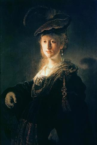 Young Woman in Fancy Dress-Rembrandt van Rijn-Stretched Canvas Print