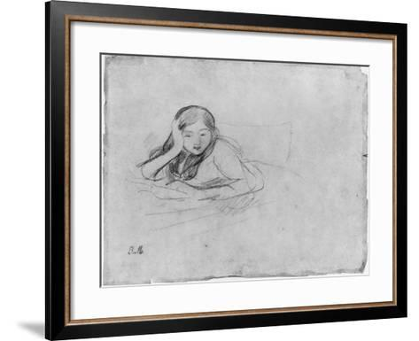 Young Girl Reading, 1889 (Black Lead on Paper)-Berthe Morisot-Framed Art Print