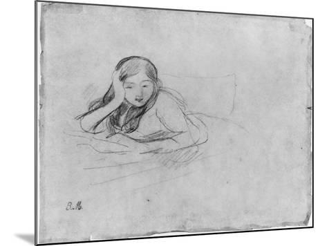 Young Girl Reading, 1889 (Black Lead on Paper)-Berthe Morisot-Mounted Giclee Print