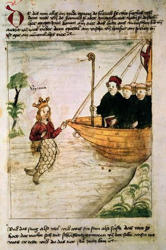 St. Brendan and a Siren, from the German Translation of 'Navigatio Sancti Brendani Abbatis', C.1476-German-Stretched Canvas Print