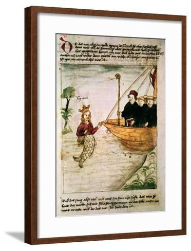 St. Brendan and a Siren, from the German Translation of 'Navigatio Sancti Brendani Abbatis', C.1476-German-Framed Art Print