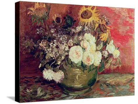 Sunflowers, Roses and Other Flowers in a Bowl, 1886-Vincent van Gogh-Stretched Canvas Print