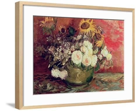 Sunflowers, Roses and Other Flowers in a Bowl, 1886-Vincent van Gogh-Framed Art Print