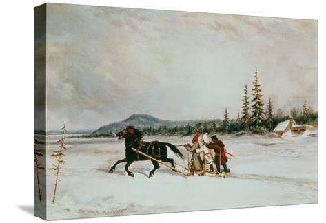 Habitants Sleighing, c.1855-Cornelius Krieghoff-Stretched Canvas Print