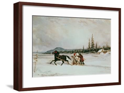 Habitants Sleighing, c.1855-Cornelius Krieghoff-Framed Art Print