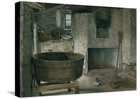Cottage Interior with Robin, 1930 (W/C on Board)-Violet Linton-Stretched Canvas Print