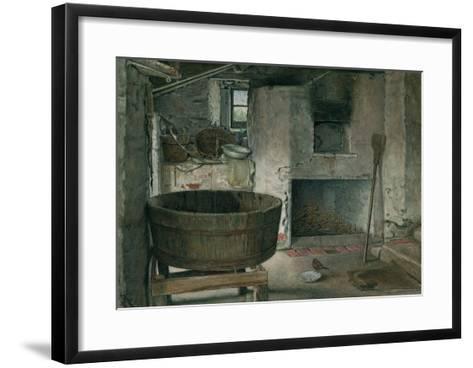Cottage Interior with Robin, 1930 (W/C on Board)-Violet Linton-Framed Art Print