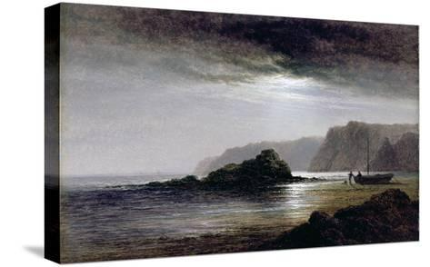 Coastal Landscape by Moonlight (Oil on Panel)-Arthur Gilbert-Stretched Canvas Print