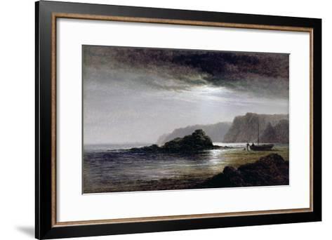 Coastal Landscape by Moonlight (Oil on Panel)-Arthur Gilbert-Framed Art Print