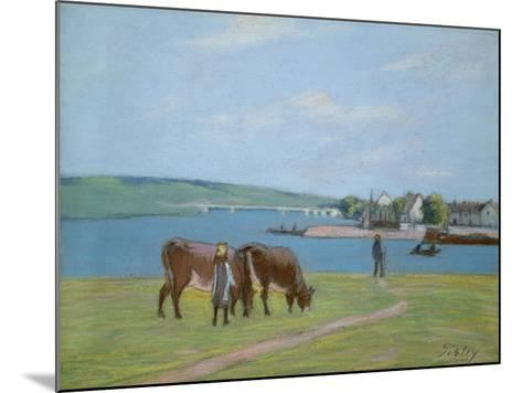 Cows on the Banks of the Seine at Saint-Mammes (Pastel)-Alfred Sisley-Mounted Giclee Print