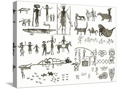 Indian Hieroglyphs-English-Stretched Canvas Print