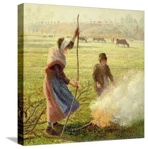 White Frost, Woman Breaking Wood, 1890-Camille Pissarro-Stretched Canvas Print