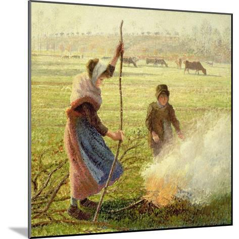 White Frost, Woman Breaking Wood, 1890-Camille Pissarro-Mounted Giclee Print