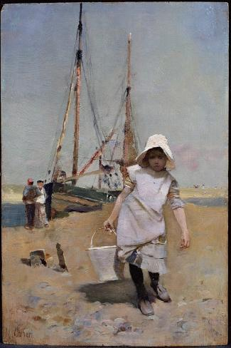 A Breton Fisher Girl (Oil on Panel)-Hector Caffieri-Stretched Canvas Print