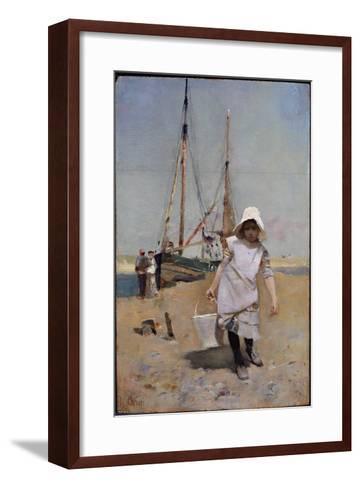 A Breton Fisher Girl (Oil on Panel)-Hector Caffieri-Framed Art Print