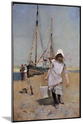 A Breton Fisher Girl (Oil on Panel)-Hector Caffieri-Mounted Giclee Print