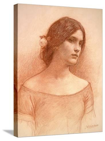 Study for 'The Lady Clare', C.1900 (Red Chalk on Paper) (See 55018)-John William Waterhouse-Stretched Canvas Print