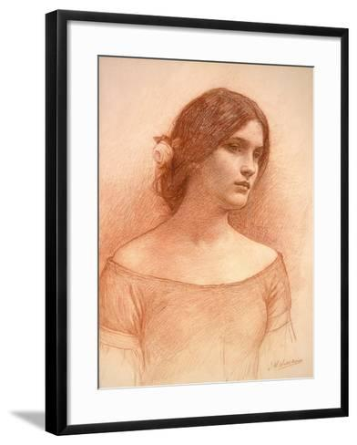 Study for 'The Lady Clare', C.1900 (Red Chalk on Paper) (See 55018)-John William Waterhouse-Framed Art Print