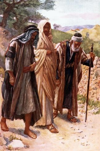 The Walk to Emmaus-Harold Copping-Stretched Canvas Print
