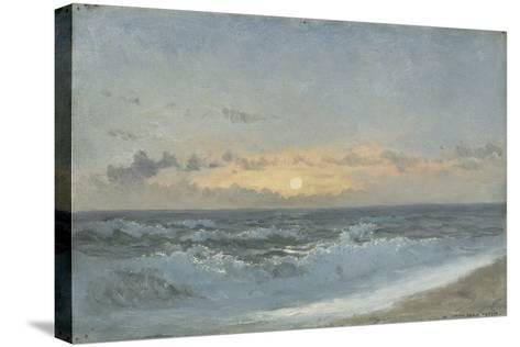 Sunset over the Sea, 1900 (Oil on Board)-William Pye-Stretched Canvas Print