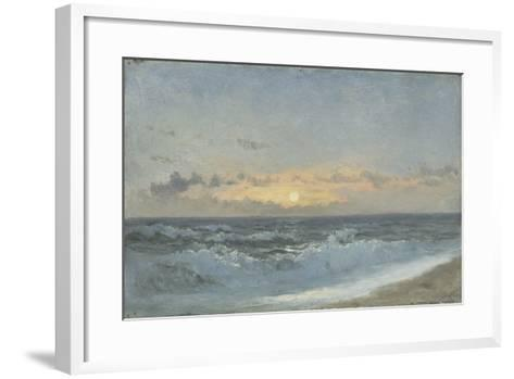 Sunset over the Sea, 1900 (Oil on Board)-William Pye-Framed Art Print