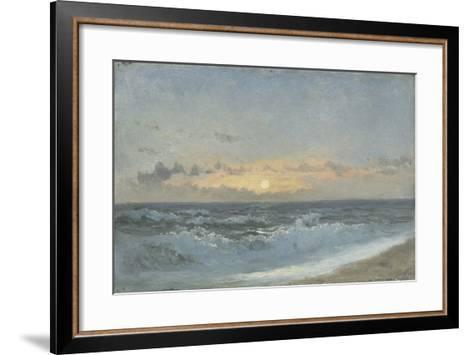 Sunset over the Sea, 1900 (Oil on Board)-William Pye-Framed Art Print