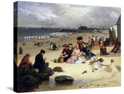 Littlehampton Beach with the Pier, Climping Beyond C.1888 (Oil on Panel)-John W. Eyres-Stretched Canvas Print
