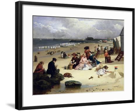 Littlehampton Beach with the Pier, Climping Beyond C.1888 (Oil on Panel)-John W. Eyres-Framed Art Print