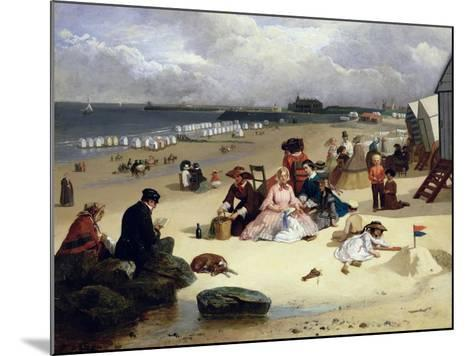 Littlehampton Beach with the Pier, Climping Beyond C.1888 (Oil on Panel)-John W. Eyres-Mounted Giclee Print