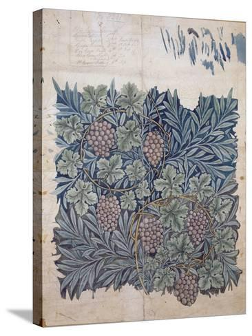 Leaf and Grape Design for 'Vine' Wallpaper (Pencil and W/C on Paper)-William Morris-Stretched Canvas Print