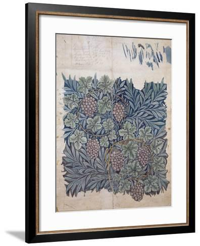 Leaf and Grape Design for 'Vine' Wallpaper (Pencil and W/C on Paper)-William Morris-Framed Art Print