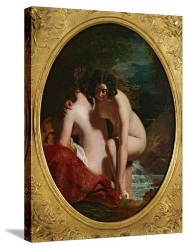 Two Girls Bathing (Oil on Panel)-William Etty-Stretched Canvas Print